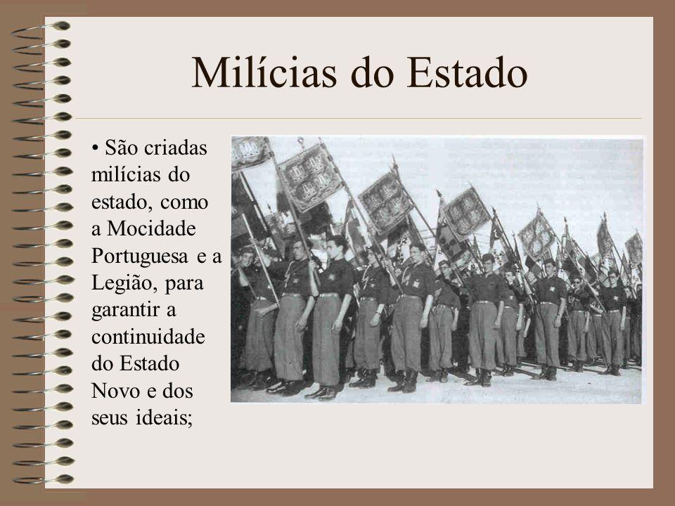 Milícias do Estado São criadas milícias do estado, como a Mocidade Portuguesa e a Legião, para garantir a continuidade do Estado Novo e dos seus ideai