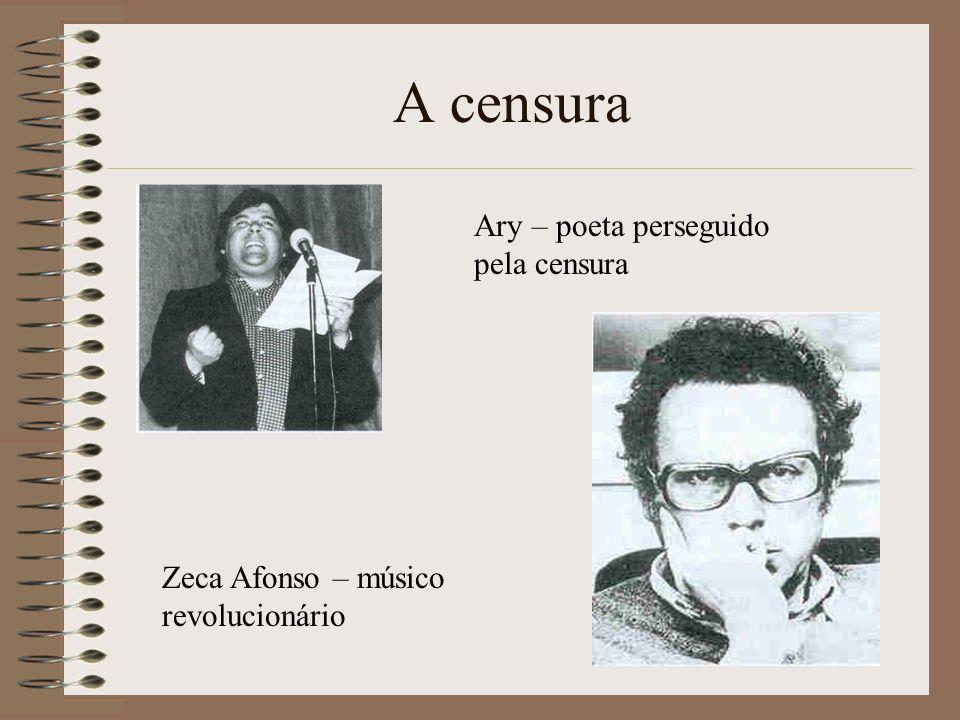 Ary – poeta perseguido pela censura Zeca Afonso – músico revolucionário