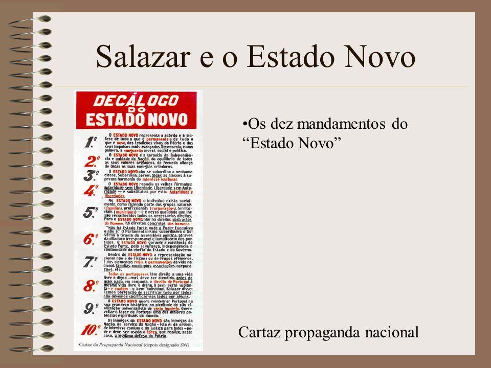 Salazar e o Estado Novo Os dez mandamentos do Estado Novo Cartaz propaganda nacional