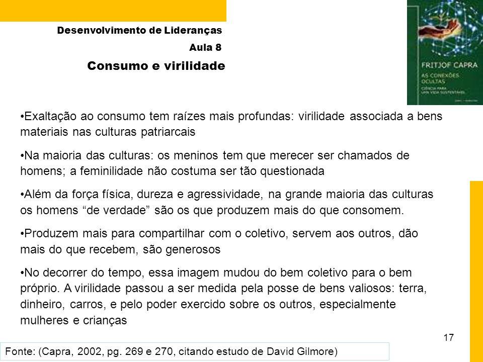 17 Exaltação ao consumo tem raízes mais profundas: virilidade associada a bens materiais nas culturas patriarcais Na maioria das culturas: os meninos