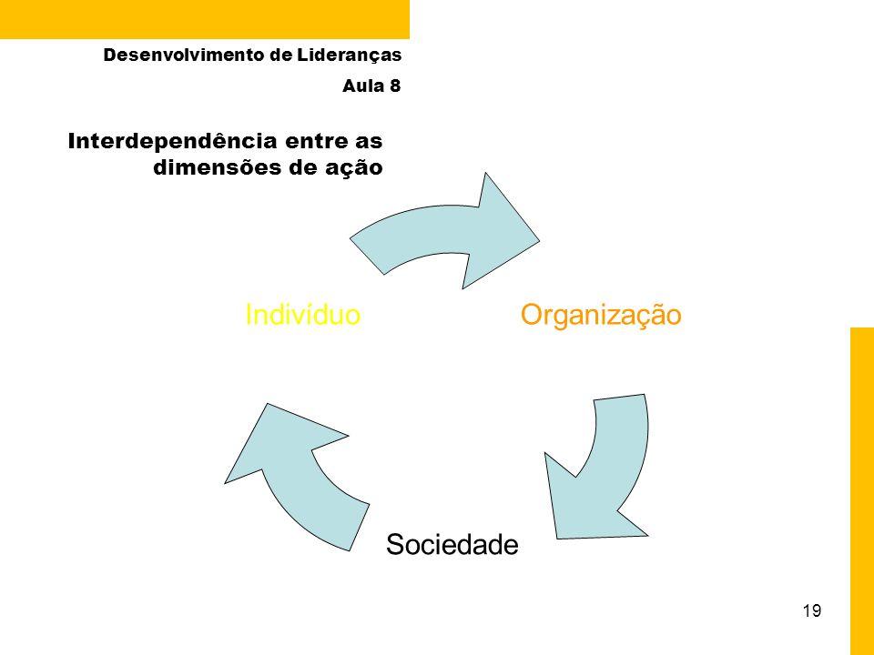 19 Organização Sociedade Indivíduo Interdependência entre as dimensões de ação Desenvolvimento de Lideranças Aula 8