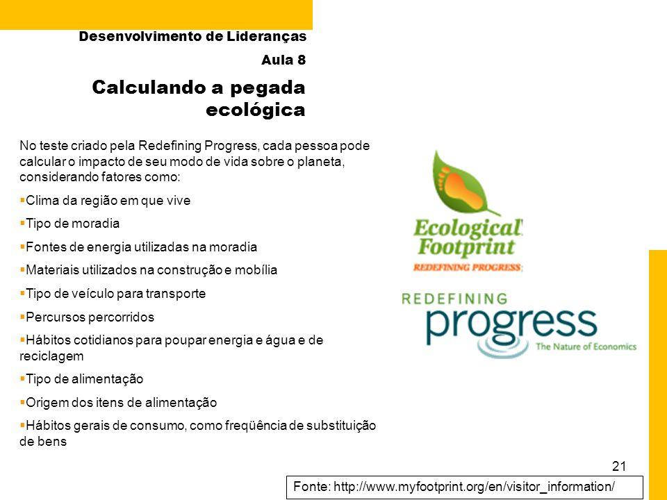 21 Fonte: http://www.myfootprint.org/en/visitor_information/ Calculando a pegada ecológica No teste criado pela Redefining Progress, cada pessoa pode