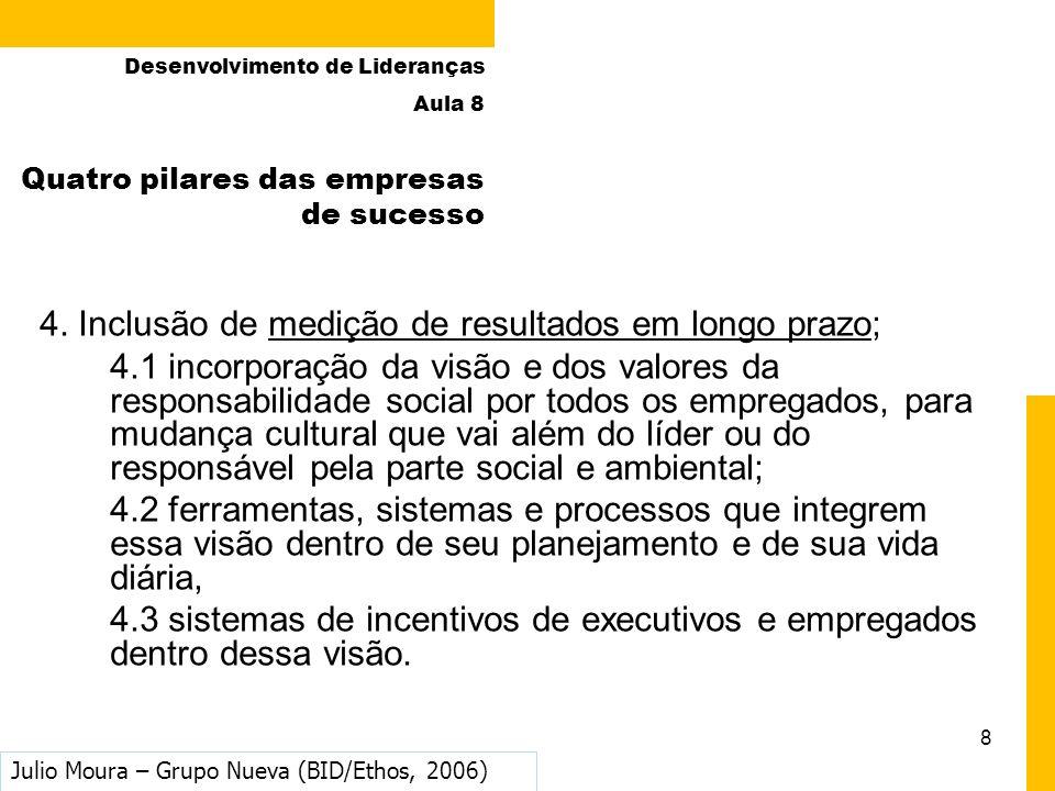 8 4. Inclusão de medição de resultados em longo prazo; 4.1 incorporação da visão e dos valores da responsabilidade social por todos os empregados, par