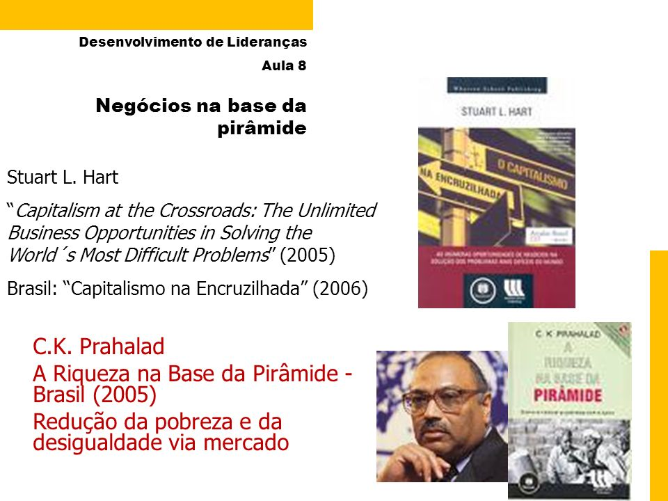 9 Negócios na base da pirâmide Stuart L. Hart Capitalism at the Crossroads: The Unlimited Business Opportunities in Solving the World´s Most Difficult