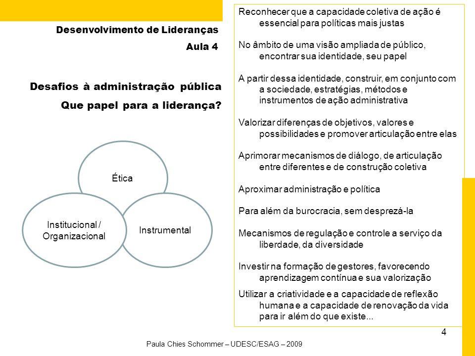 3 Desenvolvimento de Lideranças Aula 4 Agenda da aula Paula Chies Schommer – UDESC/ESAG – 2009 AtividadeHorário 1. Abertura – relembrando a aula anter