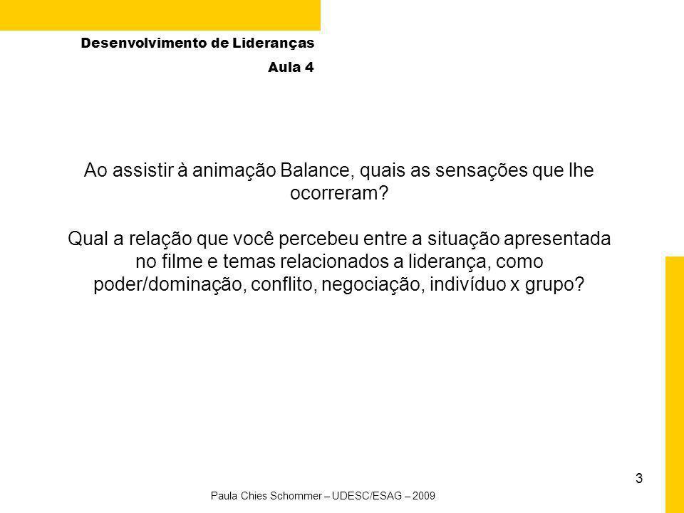 2 Desenvolvimento de Lideranças Aula 4 Agenda da aula Paula Chies Schommer – UDESC/ESAG – 2009 AtividadeHorário 1. Abertura – relembrando a aula anter