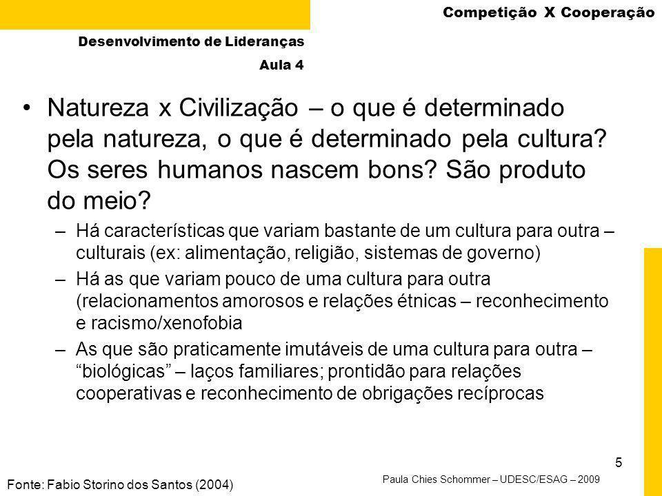 4 Dilema do Prisioneiro Fonte: Fabio Storino dos Santos (2004), pg. 29 Desenvolvimento de Lideranças Aula 4 Paula Chies Schommer – UDESC/ESAG – 2009 C