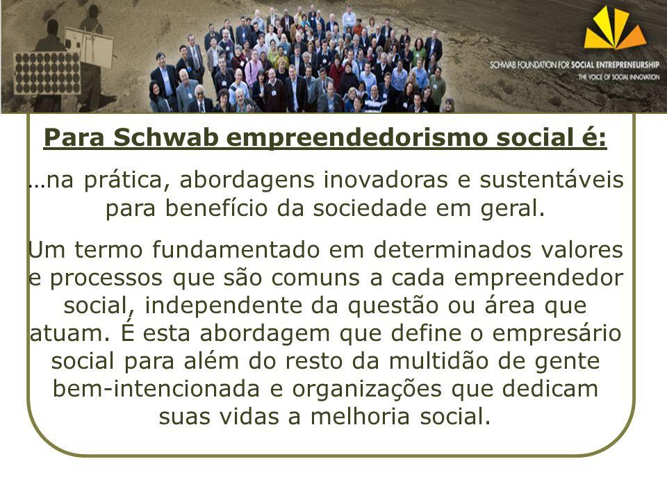 Para Schwab empreendedorismo social é:... na prática, abordagens inovadoras e sustentáveis para benefício da sociedade em geral. Um termo fundamentado