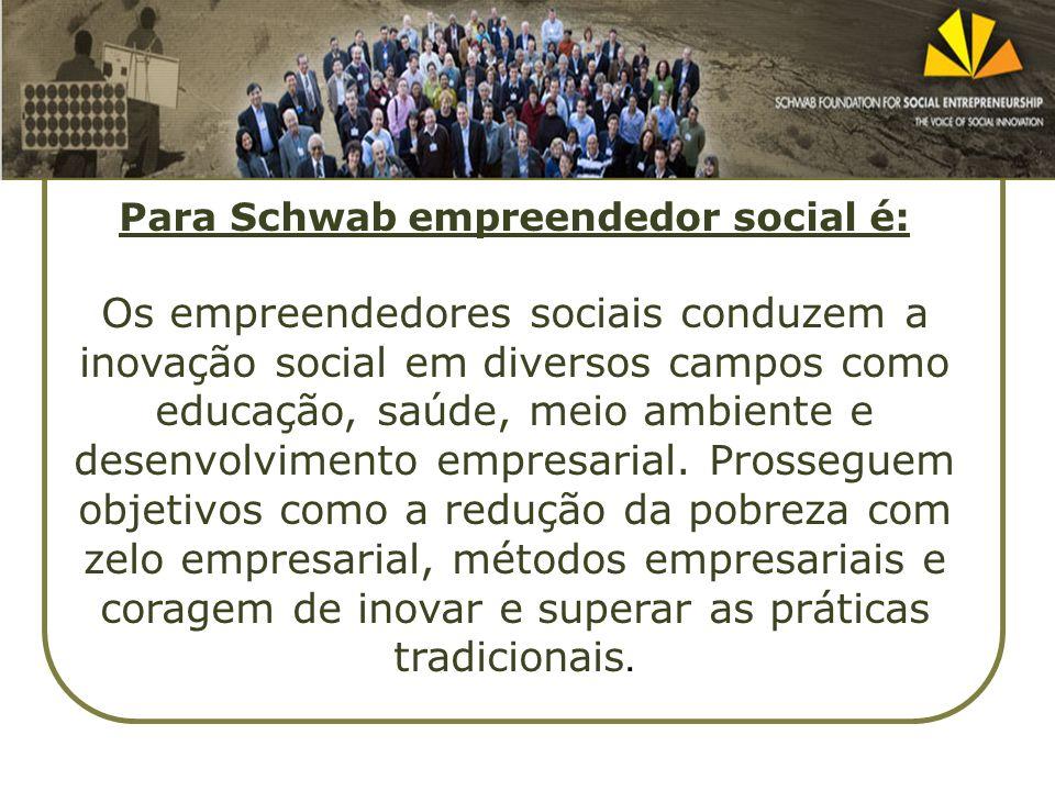 Para Schwab empreendedor social é: Os empreendedores sociais conduzem a inovação social em diversos campos como educação, saúde, meio ambiente e desen