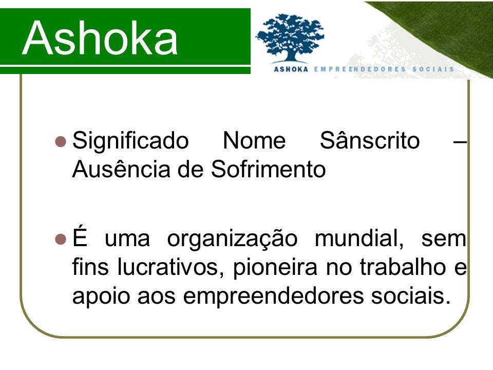 Ashoka Significado Nome Sânscrito – Ausência de Sofrimento É uma organização mundial, sem fins lucrativos, pioneira no trabalho e apoio aos empreended