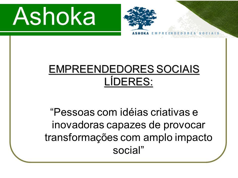 Ashoka EMPREENDEDORES SOCIAIS LÍDERES: Pessoas com idéias criativas e inovadoras capazes de provocar transformações com amplo impacto social