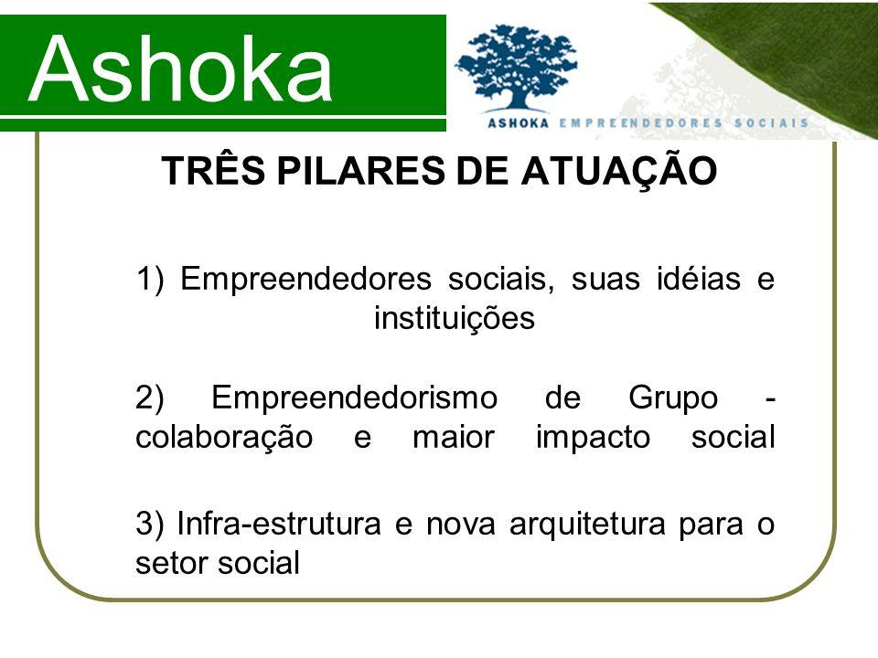 Ashoka TRÊS PILARES DE ATUAÇÃO 1) Empreendedores sociais, suas idéias e instituições 2) Empreendedorismo de Grupo - colaboração e maior impacto social