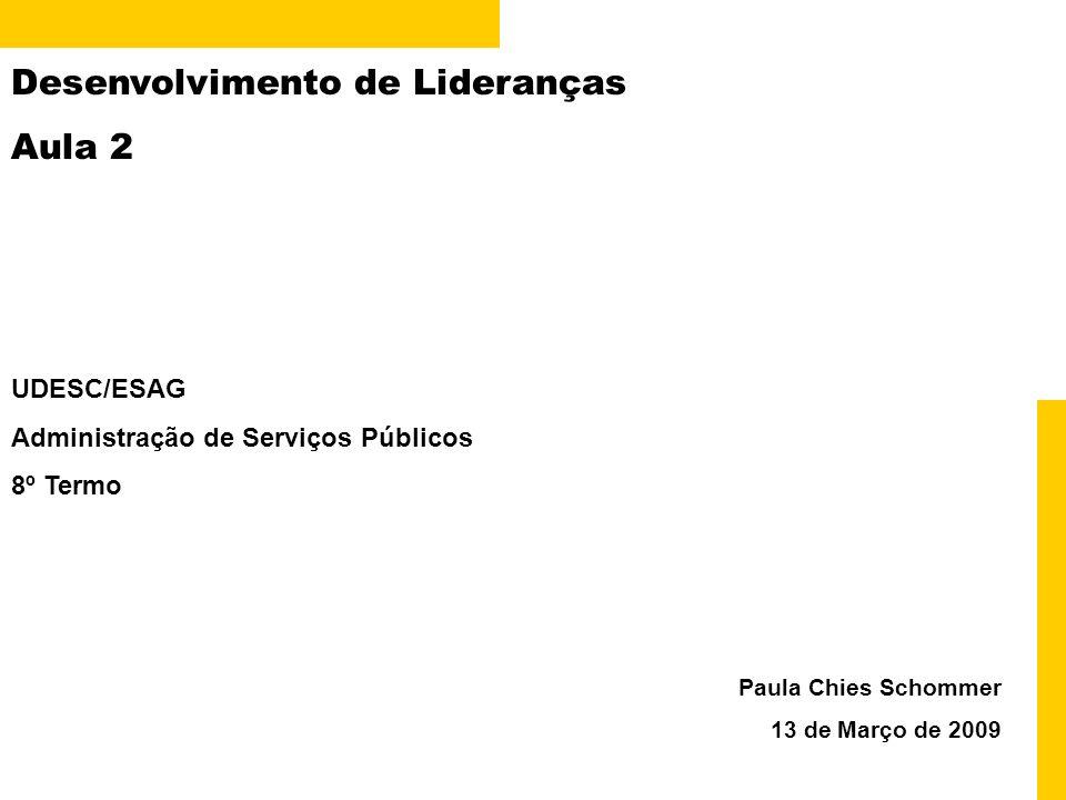 Desenvolvimento de Lideranças Aula 2 Paula Chies Schommer 13 de Março de 2009 UDESC/ESAG Administração de Serviços Públicos 8º Termo