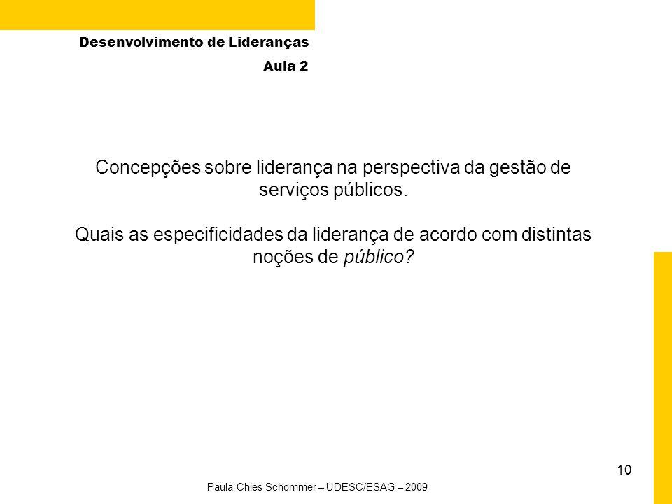 10 Concepções sobre liderança na perspectiva da gestão de serviços públicos.