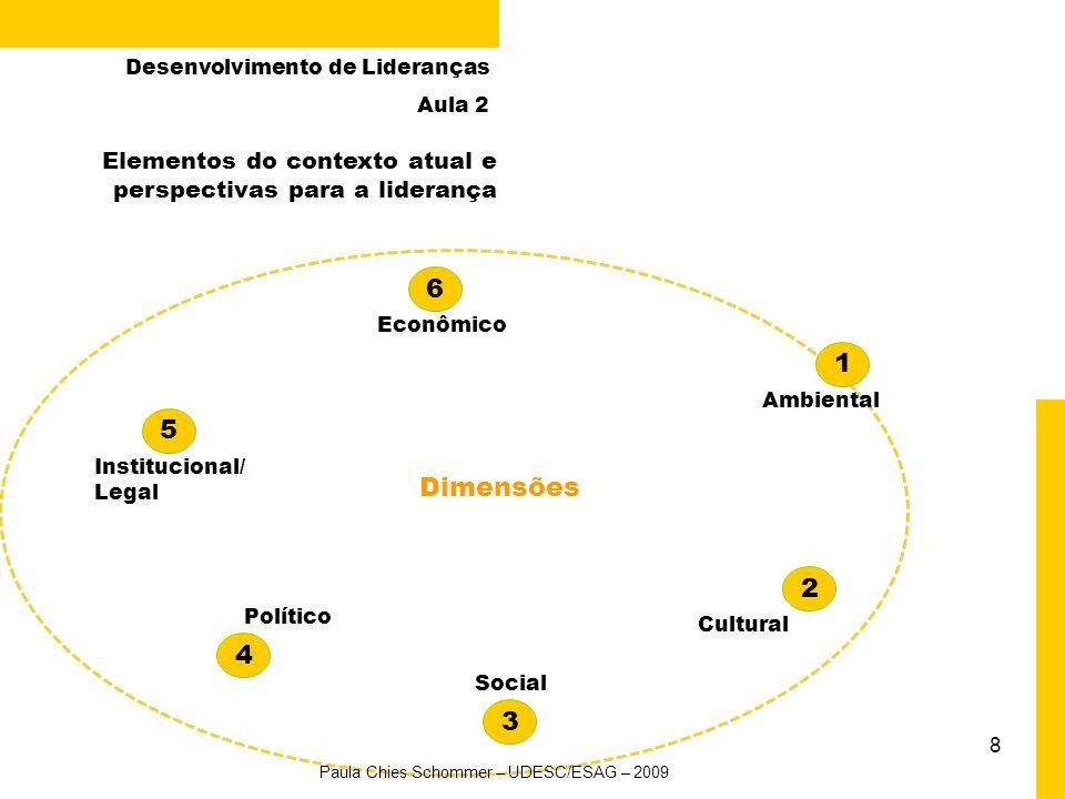 8 Ambiental Econômico Elementos do contexto atual e perspectivas para a liderança 1 2 3 4 Cultural Social Político 5 6 Institucional/ Legal Paula Chies Schommer – UDESC/ESAG – 2009 Desenvolvimento de Lideranças Aula 2 Dimensões