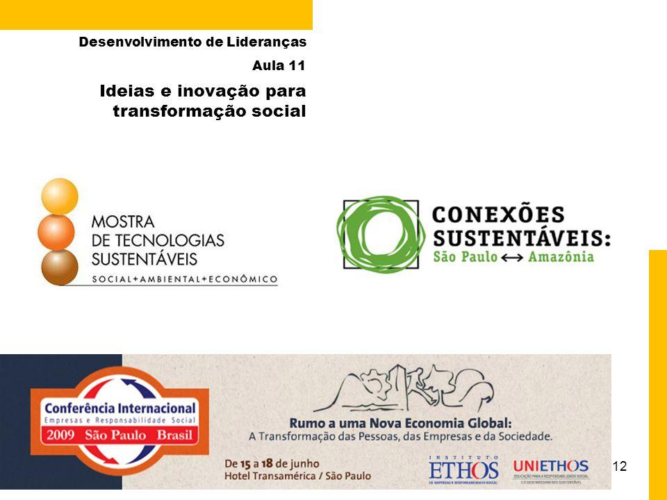 12 Ideias e inovação para transformação social Desenvolvimento de Lideranças Aula 11 Paula Chies Schommer – UDESC/ESAG – 2009