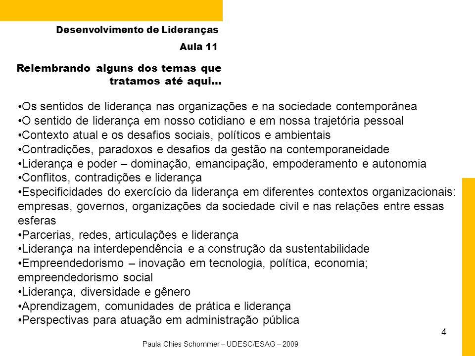 4 Desenvolvimento de Lideranças Aula 11 Relembrando alguns dos temas que tratamos até aqui... Os sentidos de liderança nas organizações e na sociedade