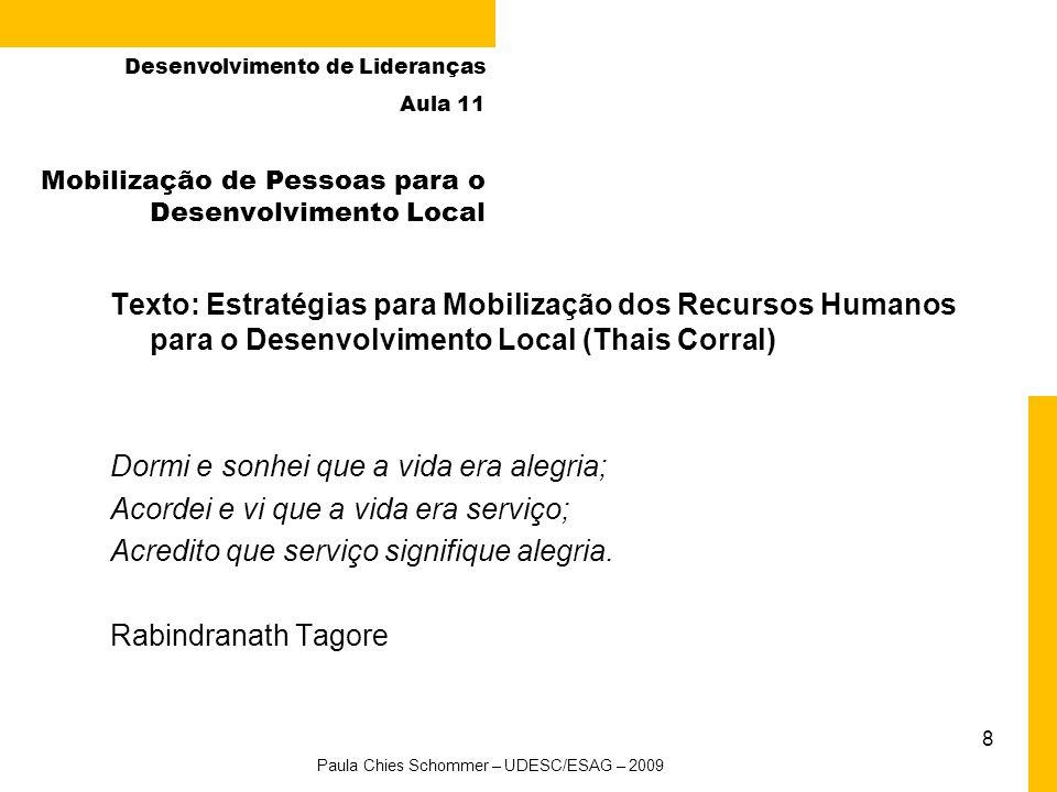 8 Mobilização de Pessoas para o Desenvolvimento Local Desenvolvimento de Lideranças Aula 11 Texto: Estratégias para Mobilização dos Recursos Humanos p