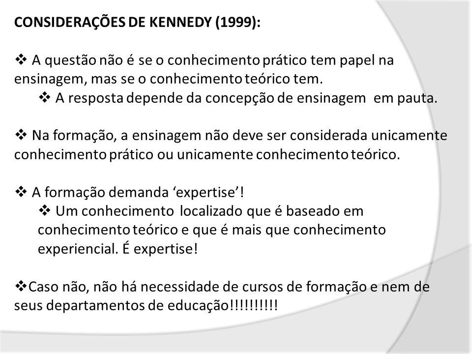 CONSIDERAÇÕES DE KENNEDY (1999): A questão não é se o conhecimento prático tem papel na ensinagem, mas se o conhecimento teórico tem. A resposta depen