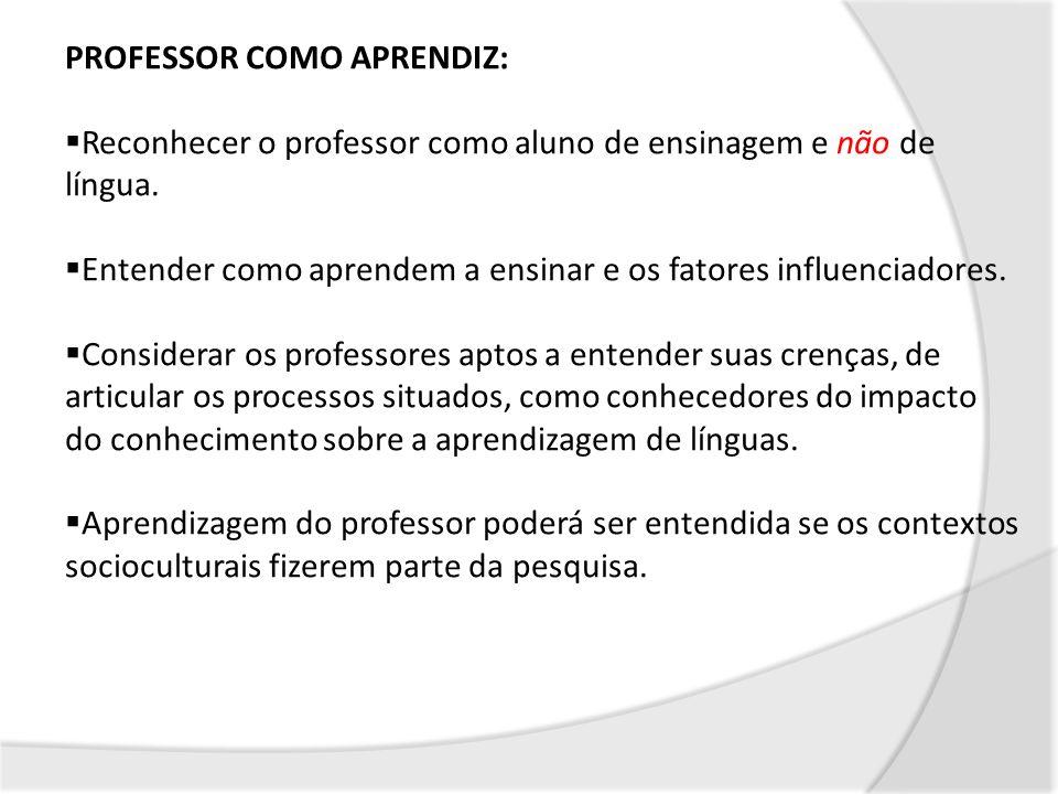 PROFESSOR COMO APRENDIZ: Reconhecer o professor como aluno de ensinagem e não de língua. Entender como aprendem a ensinar e os fatores influenciadores