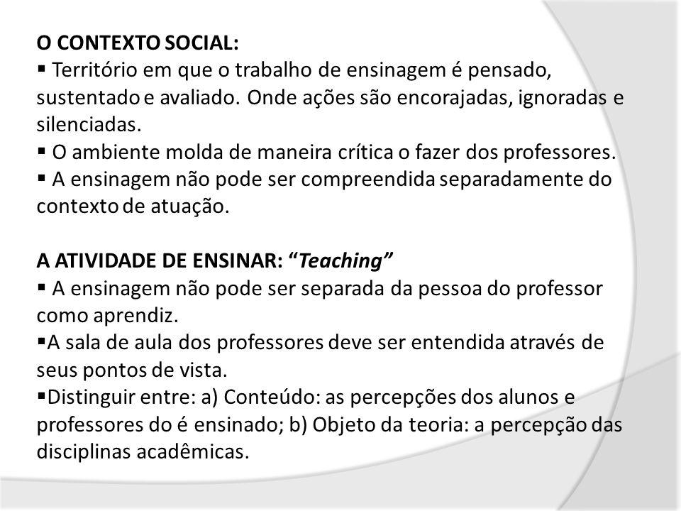 O CONTEXTO SOCIAL: Território em que o trabalho de ensinagem é pensado, sustentado e avaliado. Onde ações são encorajadas, ignoradas e silenciadas. O