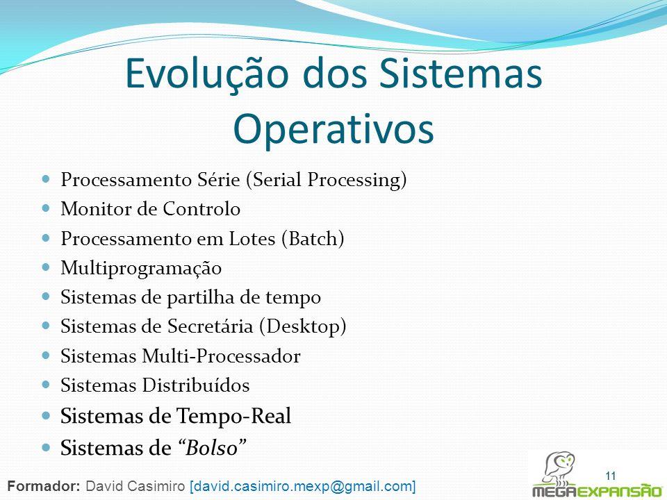 Evolução dos Sistemas Operativos Processamento Série (Serial Processing) Monitor de Controlo Processamento em Lotes (Batch) Multiprogramação Sistemas