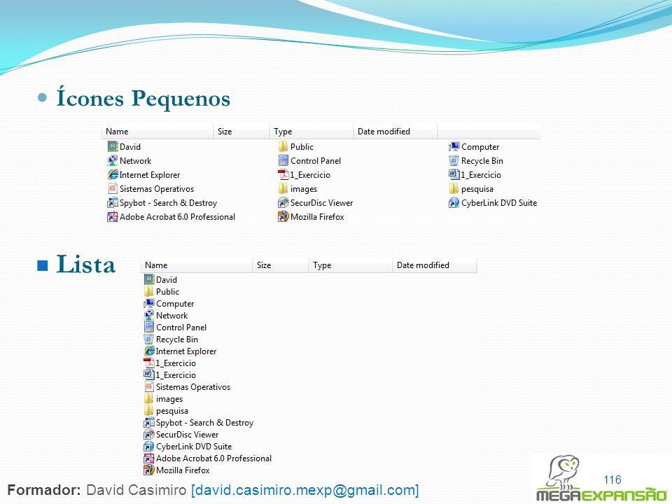 116 Ícones Pequenos Lista 116 Formador: David Casimiro [david.casimiro.mexp@gmail.com]