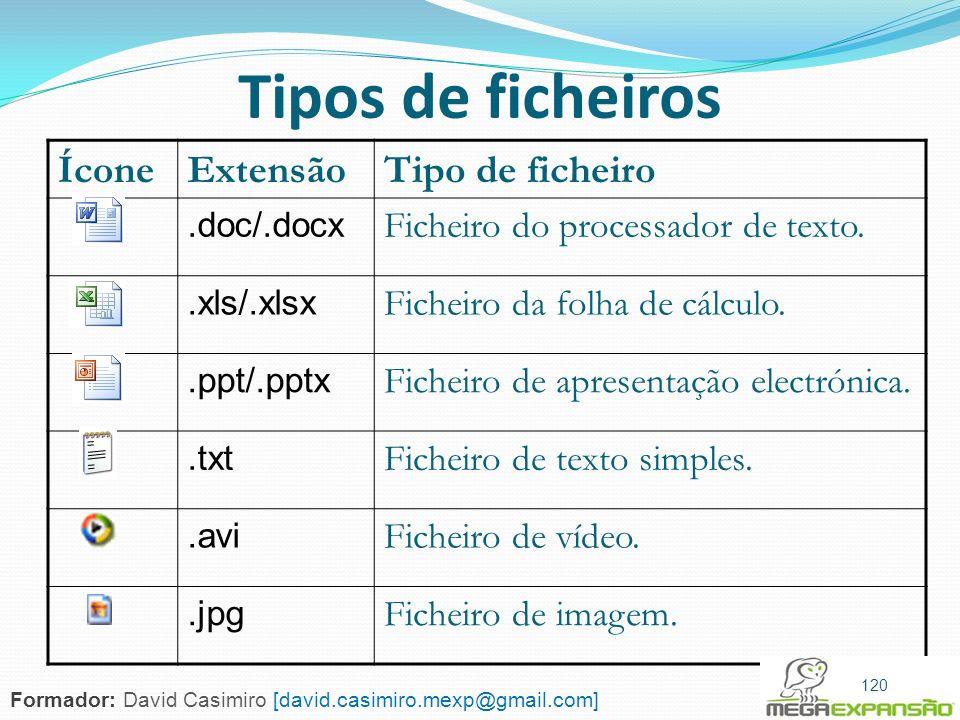 120 Tipos de ficheiros ÍconeExtensãoTipo de ficheiro.doc/.docx Ficheiro do processador de texto..xls/.xlsx Ficheiro da folha de cálculo..ppt/.pptx Fic