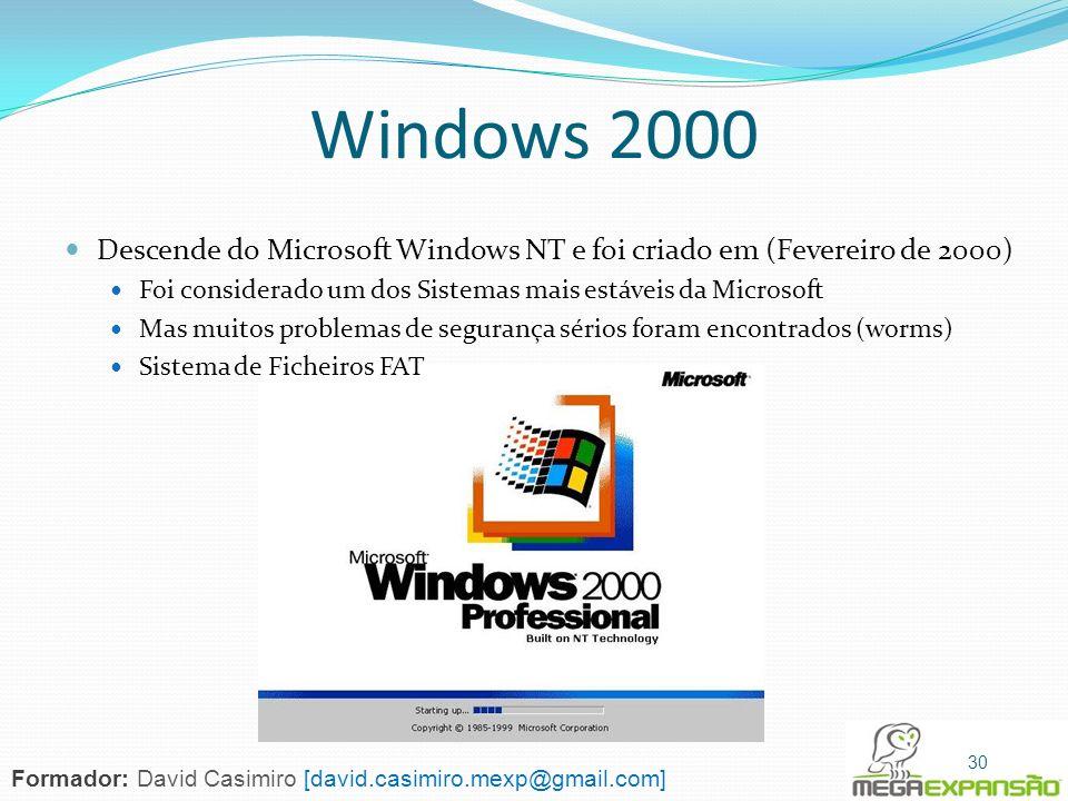 Windows 2000 Descende do Microsoft Windows NT e foi criado em (Fevereiro de 2000) Foi considerado um dos Sistemas mais estáveis da Microsoft Mas muito