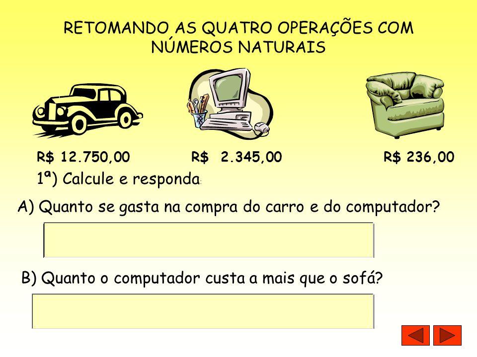 RETOMANDO AS QUATRO OPERAÇÕES COM NÚMEROS NATURAIS 1ª) Calcule e responda : R$ 12.750,00 R$ 2.345,00 R$ 236,00 A) Quanto se gasta na compra do carro e