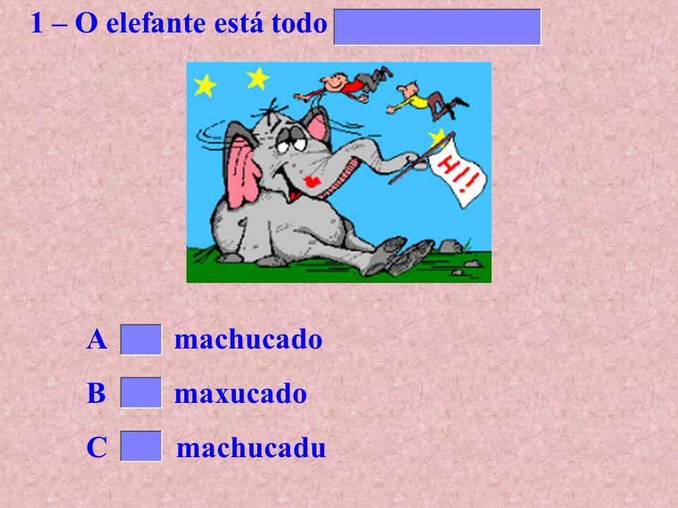 1 – O elefante está todo.......................... A machucado B maxucado C machucadu