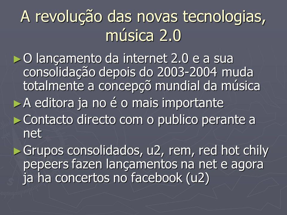 A revolução das novas tecnologias, música 2.0 O lançamento da internet 2.0 e a sua consolidação depois do 2003-2004 muda totalmente a concepçõ mundial