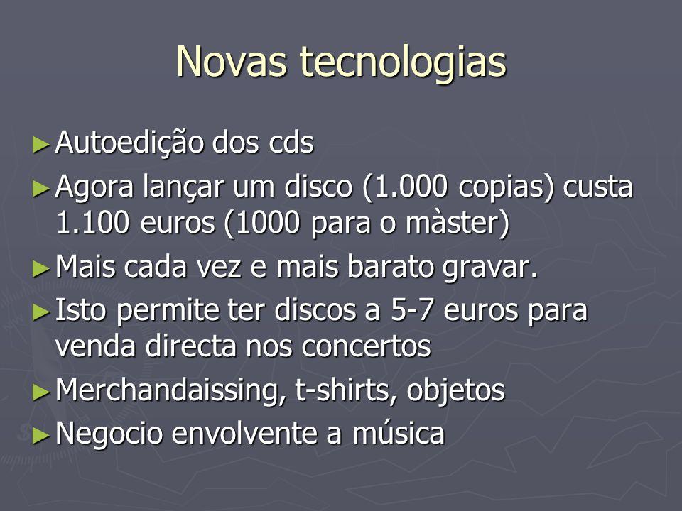 Novas tecnologias Autoedição dos cds Autoedição dos cds Agora lançar um disco (1.000 copias) custa 1.100 euros (1000 para o màster) Agora lançar um di