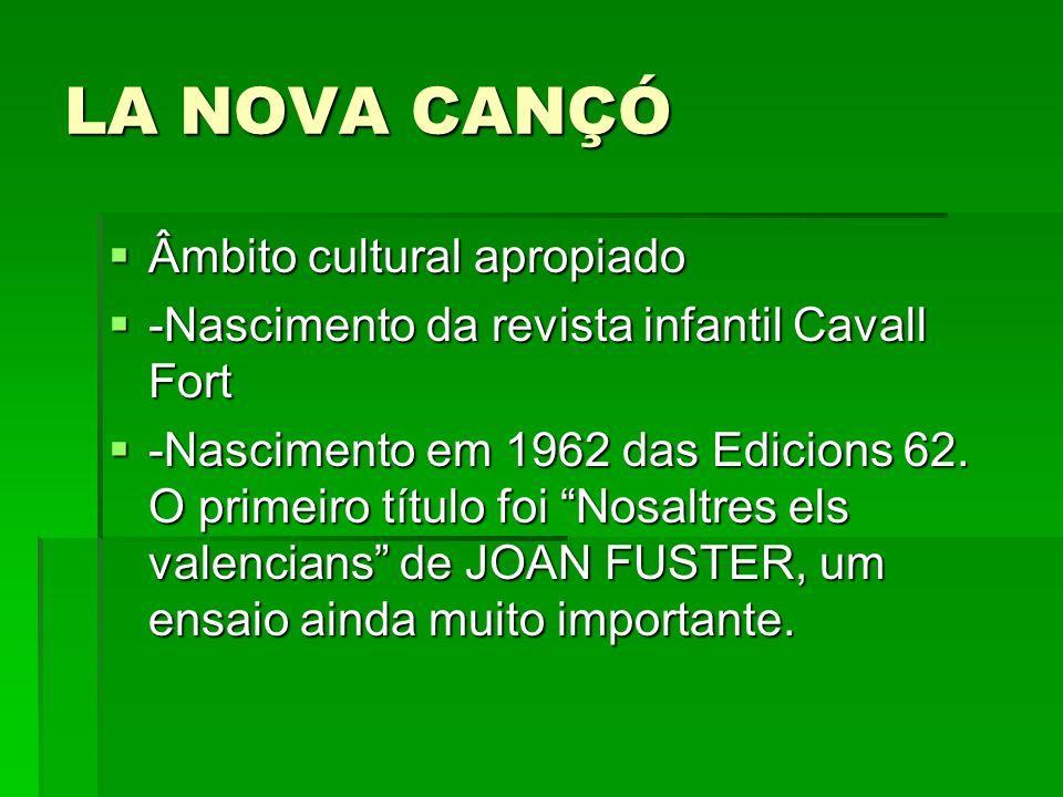 LA NOVA CANÇÓ Âmbito cultural apropiado Âmbito cultural apropiado -Nascimento da revista infantil Cavall Fort -Nascimento da revista infantil Cavall F