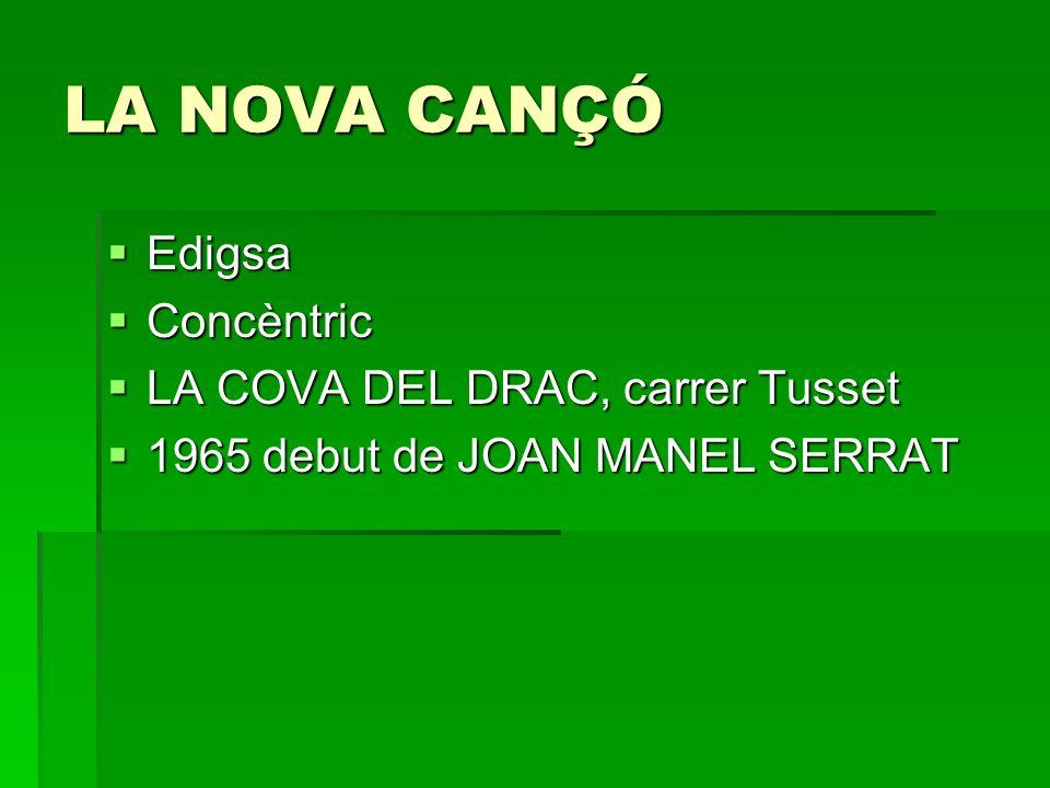 LA NOVA CANÇÓ Edigsa Edigsa Concèntric Concèntric LA COVA DEL DRAC, carrer Tusset LA COVA DEL DRAC, carrer Tusset 1965 debut de JOAN MANEL SERRAT 1965