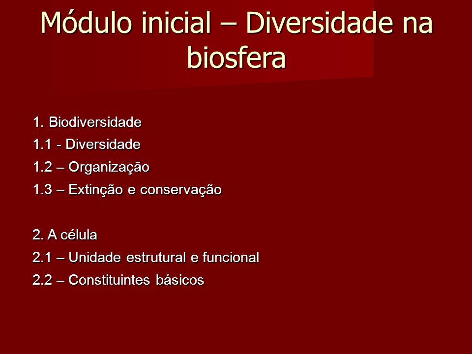 Módulo inicial – Diversidade na biosfera 1.