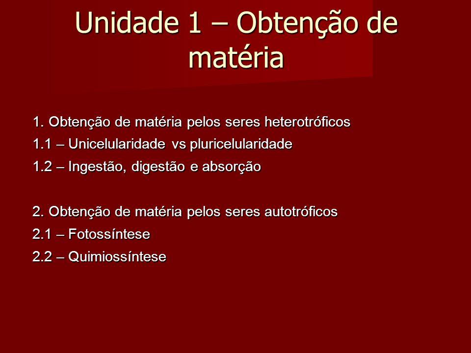 Unidade 1 – Obtenção de matéria 1.