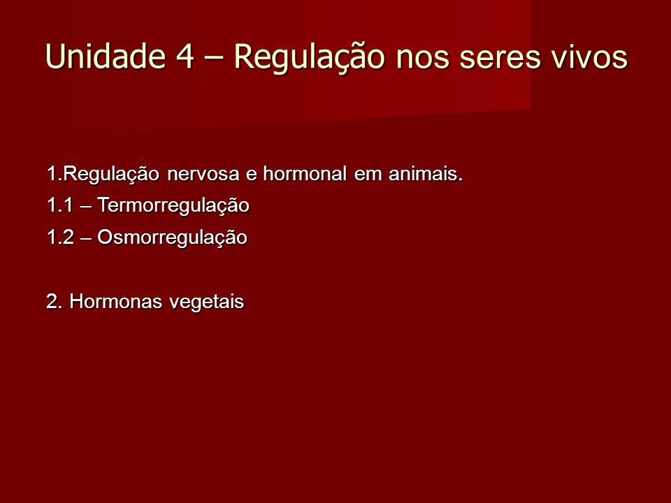 Unidade 4 – Regulação n os seres vivos 1.Regulação nervosa e hormonal em animais.