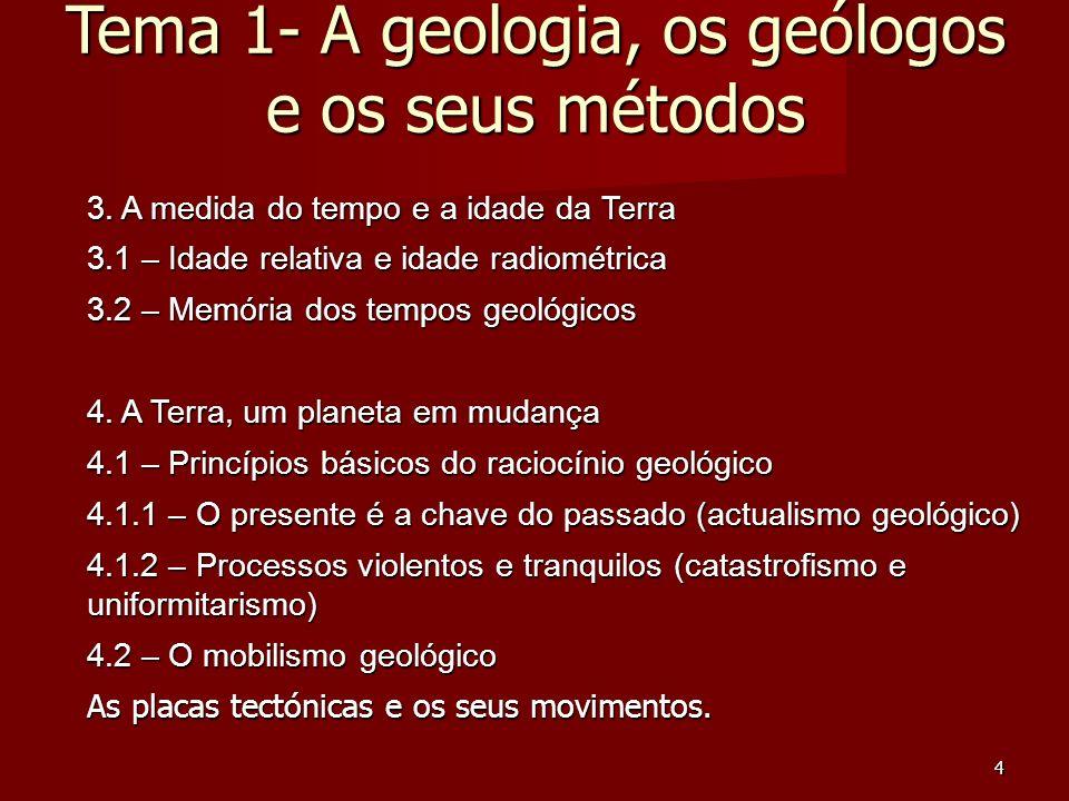 4 3. A medida do tempo e a idade da Terra 3.1 – Idade relativa e idade radiométrica 3.2 – Memória dos tempos geológicos 4. A Terra, um planeta em muda
