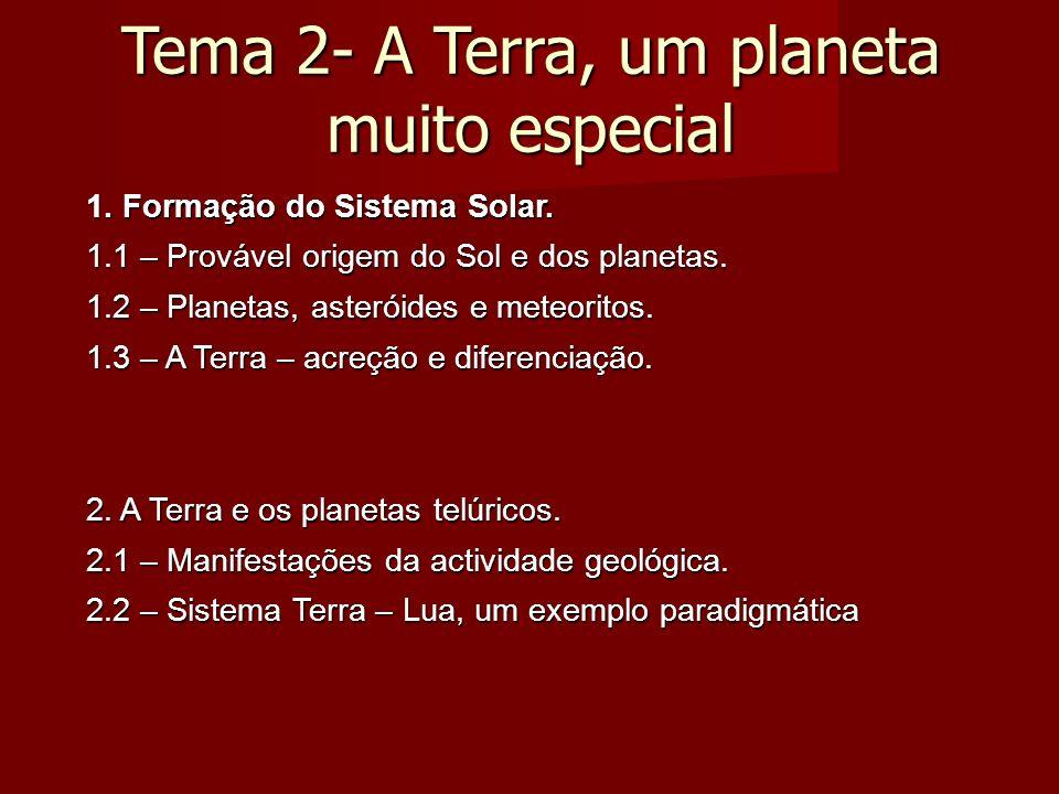 Tema 2- A Terra, um planeta muito especial 1. Formação do Sistema Solar.