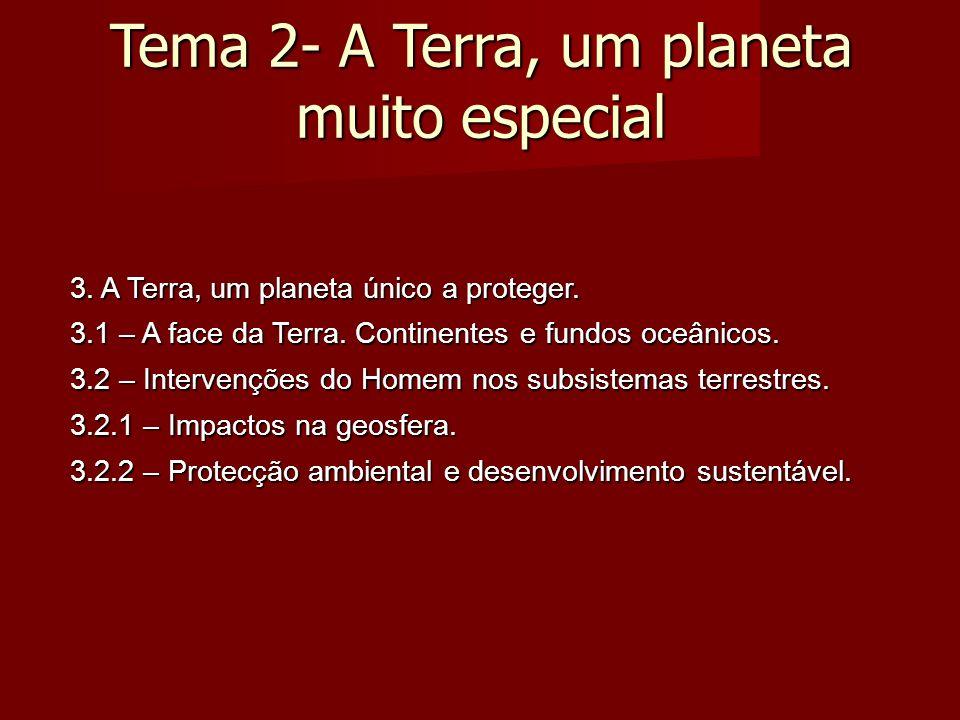 Tema 2- A Terra, um planeta muito especial 3. A Terra, um planeta único a proteger.
