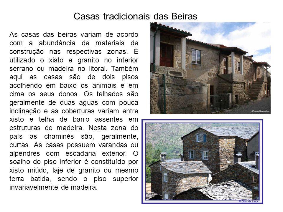 Casas tradicionais das Beiras As casas das beiras variam de acordo com a abundância de materiais de construção nas respectivas zonas. É utilizado o xi