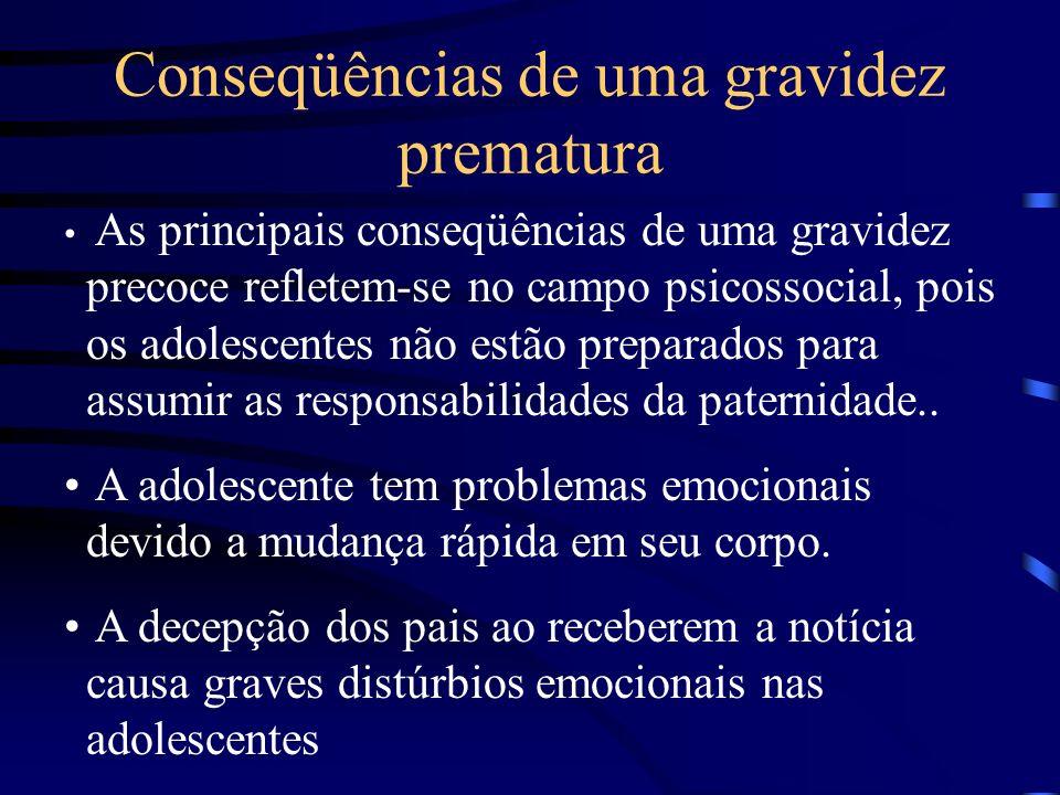 Conseqüências de uma gravidez prematura As principais conseqüências de uma gravidez precoce refletem-se no campo psicossocial, pois os adolescentes nã