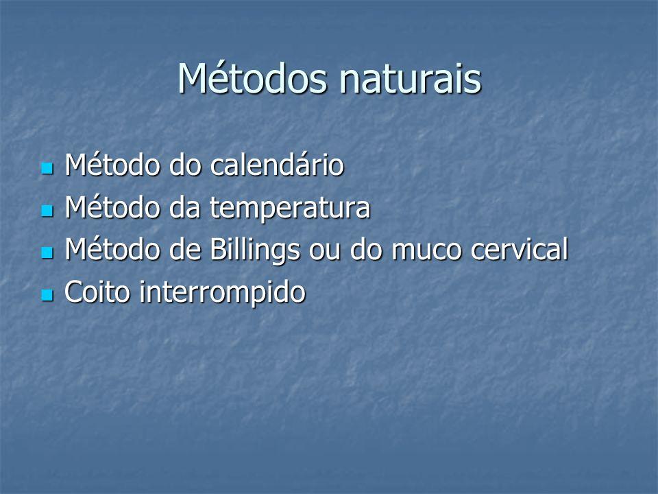 Métodos naturais Método do calendário Método do calendário Método da temperatura Método da temperatura Método de Billings ou do muco cervical Método d