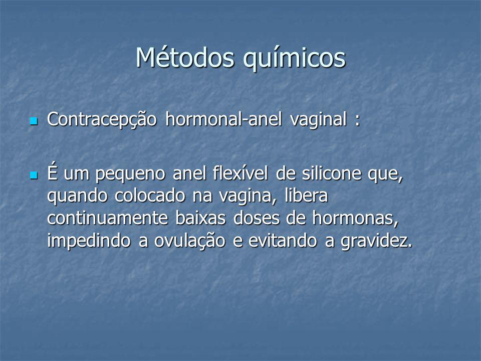 Métodos químicos Contracepção hormonal-anel vaginal : Contracepção hormonal-anel vaginal : É um pequeno anel flexível de silicone que, quando colocado