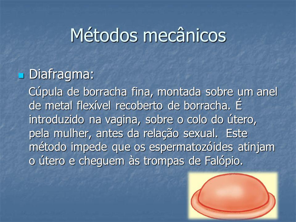 Métodos mecânicos Diafragma: Diafragma: Cúpula de borracha fina, montada sobre um anel de metal flexível recoberto de borracha. É introduzido na vagin
