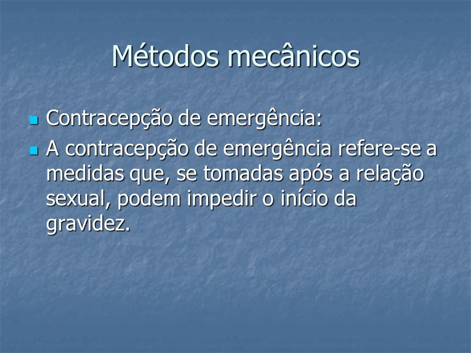 Métodos mecânicos Contracepção de emergência: Contracepção de emergência: A contracepção de emergência refere-se a medidas que, se tomadas após a rela