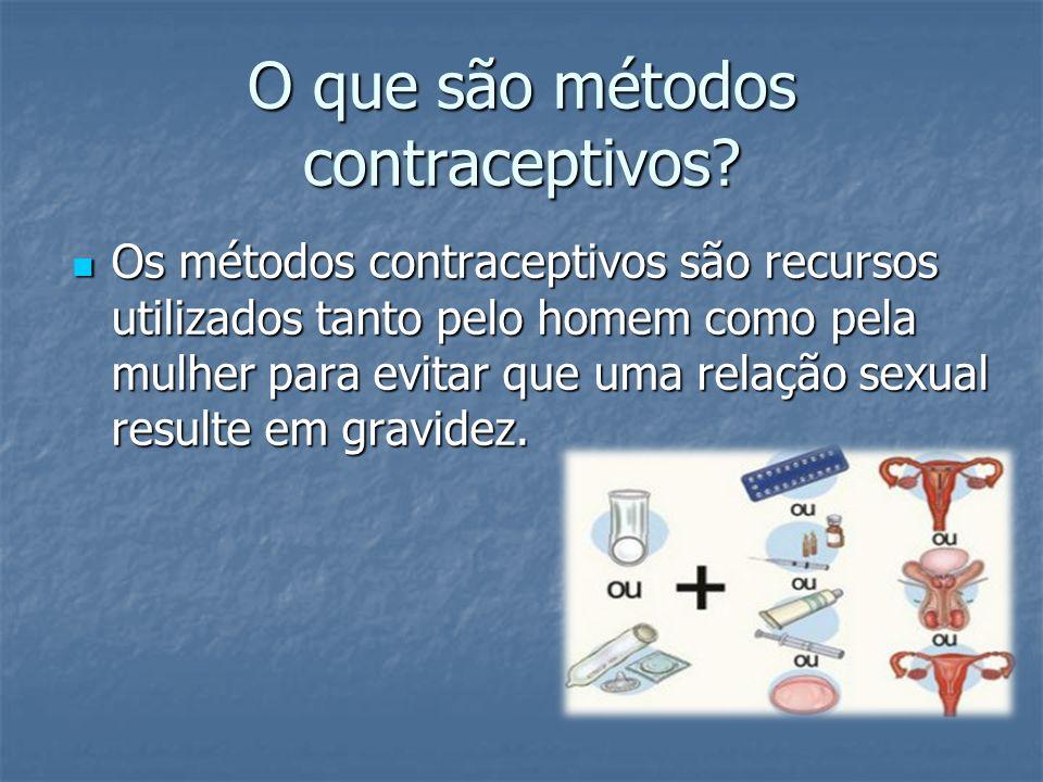 O que são métodos contraceptivos? Os métodos contraceptivos são recursos utilizados tanto pelo homem como pela mulher para evitar que uma relação sexu