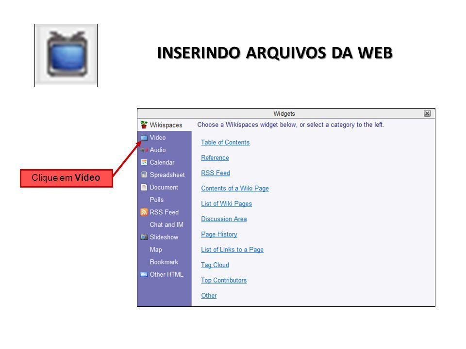 INSERINDO ARQUIVOS DA WEB Clique em Vídeo