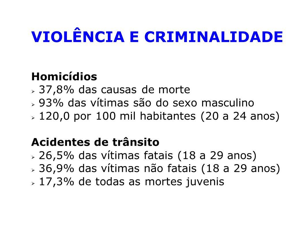 VIOLÊNCIA E CRIMINALIDADE Homicídios 37,8% das causas de morte 93% das vítimas são do sexo masculino 120,0 por 100 mil habitantes (20 a 24 anos) Acide